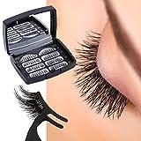 Magnetische Wimpern, 3D Magnet Künstliche Wimpern Set, 3 Magnete, Wiederverwendbare Falsche Magnetic Eyelashe (Black)