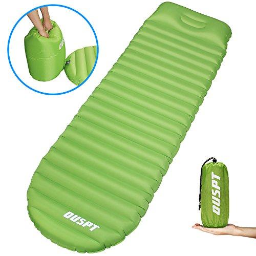 OUSPT Ultraleichte Aufblasbare Isomatte mit Kopfkissen,Camping Luftmatratze Ultraleicht Isomatte Wasserabweisend und Rutschfest Schlafmatte,Tragbare Sleeping Pad für Camping, Outdoor, Wandern