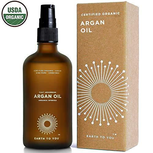 Arganöl aus Marokko. Bio, kalt gepresst, unbehandelt, für Haare, Haut, Gesicht, Nägel und Massage mit Pumpaufsatz. Natürliche Haarkur und Feuchtigkeitspflege 100 ml – von Earth To You