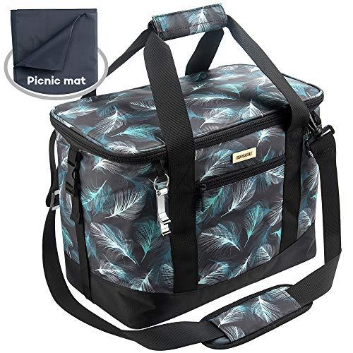 Kaome Kühltasche mit Picknick-Decke, Zusammenklappbare Picknicktasche, Große Lunchtasche, Auslaufsichere Picknick-Tasche mit abnehmbarem Schultergurt für Camping und Picknick mit der Familie