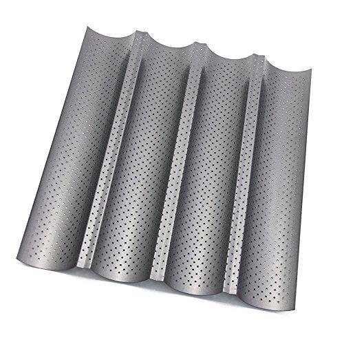 Baguette-Backblech,Htianc Antihaft Baguetteblech,Baguetteform für Backen,37,8 x 32,7cmx2,5cm