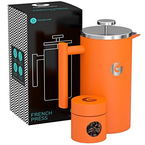 FRENCH PRESS/KAFFEEBEREITER/TEEBEREITER 1 Liter von Coffee Gator - Doppelwandige Französische Kaffeepresse um Kaffee länger warm zu behalten - Kaffeekanne in graumatt - Mini Kaffeedose gratis dazu