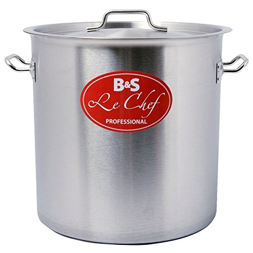 S4U Gastronomie Profi Kochtopf Suppentopf aus Edelstahl mit Deckel (25 Liter)