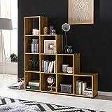 FineBuy Stufenregal LUCIA Buche Treppenregal für Ordner & Bücher 10 Fächer Holz | Design Raumteiler Regal | Modernes Aktenregal | Bücherregal