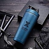 PLC020 700ml Edelstahl Protein Shaker Sport Fitness Shaker Eiweiß | Protein Eeiweiß Shaker Becher mit Kugel (Double Wall-Blau)