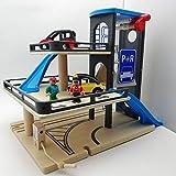 Aiya Parkhaus, Holzspur 3 Storey Toy Garage Holzparkplatz Lot Rail Car Toy für 3-6-10 Jahre alte Kfz-Werkstatt Holzparkgarage Playset mit Zubehör