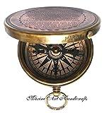 '' Robert Frost Gedicht '' gravierte Messingkompass mit geprägtem Nadel u mit Ledertasche . C-3241