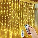 LED Lichtervorhang, Vegena 300 LEDs Lichterwand 3m x 3m Lichterkettenvorhang 8 Modi Wasserfest Lichterkette Warmweiß mit Fernbedienung für Außen Innen Deko Weihnachtsbeleuchtung Hochzeit Garten