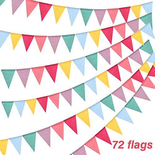 BAKHK 18M 72 Stück Mehrfarbige Wimpel Girlande Bunt Wimpelkette Banner, Nachgeahmt Sackleinen Wimpelkette Stoff im Draußen und Drinnen Party Dekoration