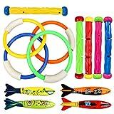 Tacobear Tauchen Spielzeug Unterwasser Schwimmbad Spielzeug Tauchen Pool Spielzeug 4 Stück Tauchringe,4 StückToypedo Bandits,5 Stück Tauchstäbchen, Schwimmen Spielzeug-Set für Kinder (Classic Style)