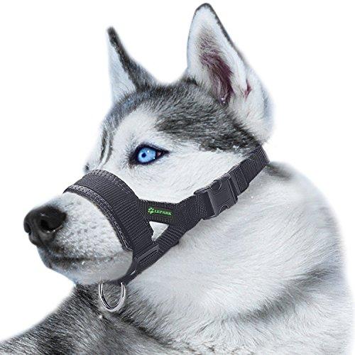 RockPet Maulkorb aus Nylon um Hunde vom Beisen, Bellen und Kauen abzuhalten, anpassbare Schlinge (L,Schwarz)