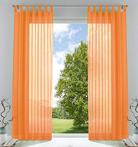 2er-Pack Gardinen Transparent Vorhang Set Wohnzimmer Voile Schlaufenschal mit Bleibandabschluß, 61000CN