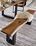 SAM Sitzbank Quentin 180x40 cm, massive Holzbank, Akazie, echte Baumkante, U-förmiges Metallgestell, Unikat, exklusives Design