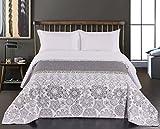 DecoKing 77214 Tagesdecke 240 x 260 cm stahl silber weiß anthrazit Bettüberwurf zweiseitig white steel silver Steppung Alhambra