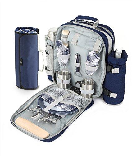 Greenfield Collection Super Deluxe Picknick-Rucksack für 2Personen mit passender Picknickdecke, Marineblau, 21x 32x 40cm