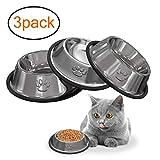 YHmall 3 STÜCKE Katzennapf Wassernapf Nicht verschüttet und Rutschfeste Futternapf aus Edelstahl, Schüssel für Katze Kleine Hunde Tiere MEHRWEG