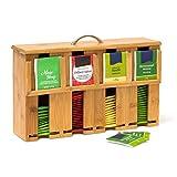 Relaxdays Teebeutelspender aus Bambus H x B x T: 22 x 33,5 x 10 cm Teebox für ca. 160 Teebeutel Teekiste mit abnehmbarem Deckel samt Griff Teebeutelbox mit 4 Fächern und Halter Teekasten Holz, natur