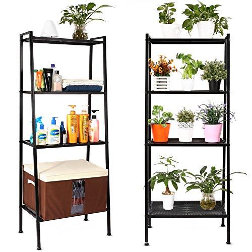 HOMFA Bücherregal Metall Standregal Leiterregal Treppenregal Lagerregal Badregal StufenregalPflanzenregal mit 4 Böden 60x35x147cm perfekt für Bücher, Pflanzen, Deko etc. (Schwarz)