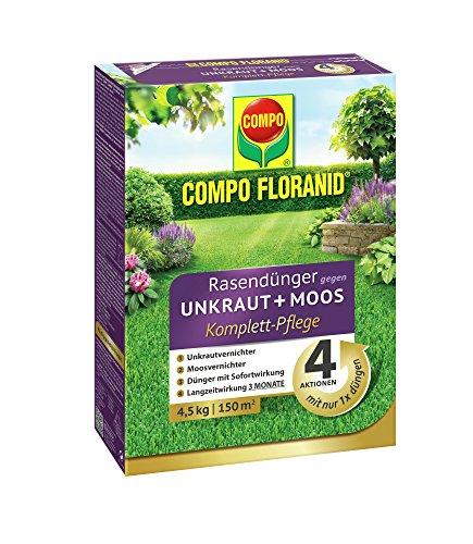 COMPO FLORANID Rasendünger gegen Unkraut + Moos Komplettpflege, 3 Monate Langzeitwirkung, Feingranulat, 4,5 kg, 150 m²
