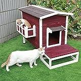 Petsfit Wetterfestes Katzenhaus für den Außenbereich/Haus/Eigentumswohnung mit Treppe 70cm x 44cm x 51cm