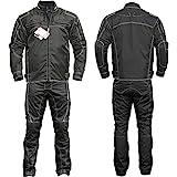 Germanwear 2-teiler Motorradkombi Cordura Textilien Motorradjacke & Motorradhose Schwarz, Größe:52