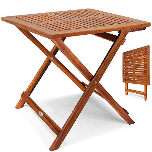 Deuba Klapptisch Akazie Beistelltisch Holztisch Gartentisch Campingtisch 70x70x73cm