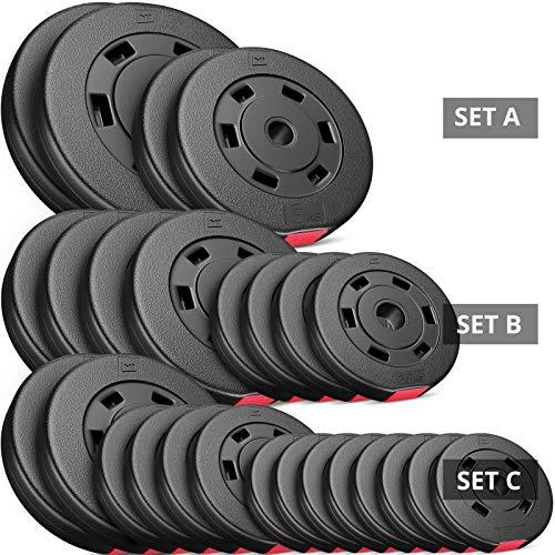 Hop-Sport 30kg Hantelscheiben Sets Gewichte Auswahl: 2x5kg+2x10kg / 4x2,5kg+4x5kg / 8x1,25kg+4x2,5+2x5kg