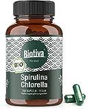 Spirulina Chlorella Bio Algen Kapseln - 1800mg Höchste Tagesdosis - 150 Kapseln a 600 mg - Premium Bioqualität - vegan - OHNE Magnesiumstearat - Abgefüllt und Kontrolliert in Deutschland (DE-ÖKO-005)
