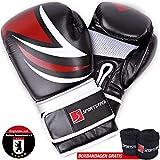 Kampfsport Profi Boxhandschuhe mit revolutionären Dämpfungssystem & eigenentwickelter Handgelenksfixierung! Handschuhe für Kickboxen, MMA, Sparring, Boxen & Training am Boxsack inkl. Boxbandagen