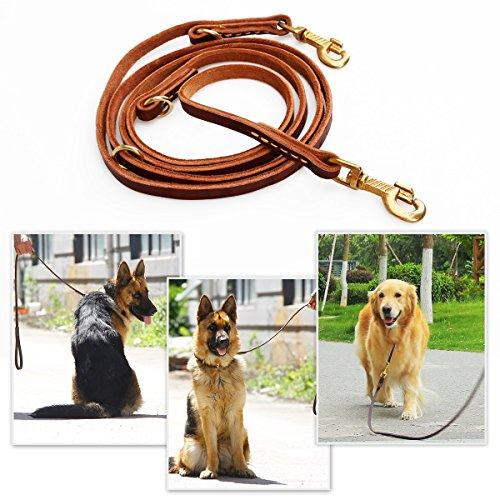 Han Lucky Star 2.30m Hundeleine für große Hunde und mittlere Hunde mehrfache verstellbare Lederleine zum Joggen, Spazieren, Gassi, Fahrrad Fahren [braun]