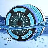 Duschlautsprecher - zertifizierter wasserdichter Wireless 4.1 Lautsprecher - mit HD Sound und Bass, FM Radio, bunter LED Effekt, starke Adhäsion, Freisprechen für alle Bluetooth Geräte