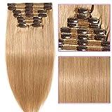 Clip in Extensions Set 100% Remy Echthaar 8 Teilig Haarverlängerung dick Dopplet Tressen Clip-In Hair Extension (60cm-170g,#27 Dunkelblond)