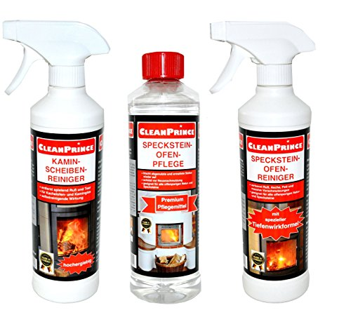 CleanPrince Specksteinofen Set Kaminscheiben-Reiniger Specksteinofen-Reiniger Specksteinofen-Pflege