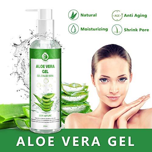 Aloe Vera Gel Bio 100% - für Gesicht, Haare und Körper - Natürliche, beruhigende und pflegende Feuchtigkeitscreme - Ideal für trockene, strapazierte Haut & Sonnenbrand - 250ml