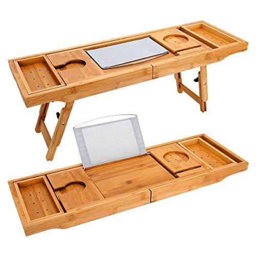 Erweiterbare Luxus Holz Badewanne Caddy Tray & Bambus Laptop Bett Schreibtisch Tablett 2 in 1 mit zwei skalierbare und verstellbare Füße, Badewanne Fach und Bad Organizer für jede Größe Badewanne in Weinglas, Telefon, Buch, Pad, Tablet-Halter gebaut