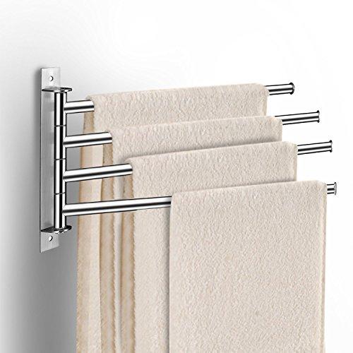 qobobo 180°Drehung Edelstahl Handtuchhalter Handtuchhaken Bad Handtuchhalter mit 4 Armen einfach und stilvoll