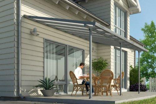 Hochwertige graue ALU Terrassenüberdachung / Veranda - 550 x 300 (BxT) / Überdachung Palram Feria Grau