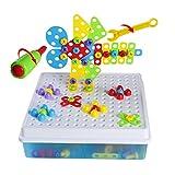 jerryvon Mosaik Steckspiele 3D 4 in 1 Kreatives Puzzlespiel DIY Bausteine Versammlung Intelligenz Spielzeug für Kinder,189 Pcs