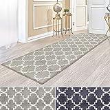 casa pura Kurzflor Teppich Läufer MARRAKESCH mit marokkanischem Muster | Meterware | Rutschfester Latex-Rücken | Teppichläufer für Wohnzimmer, Küche, Flur, Schlafzimmer | 2 Farben (beige, 81x300 cm)