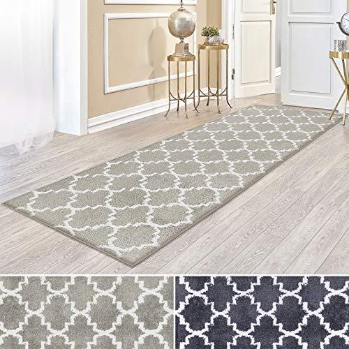 casa pura Kurzflor Teppich Läufer MARRAKESCH mit marokkanischem Muster | Meterware | Rutschfester Latex-Rücken | Teppichläufer für Wohnzimmer, Küche, Flur, Schlafzimmer | 2 Farben (beige, 81x200 cm)