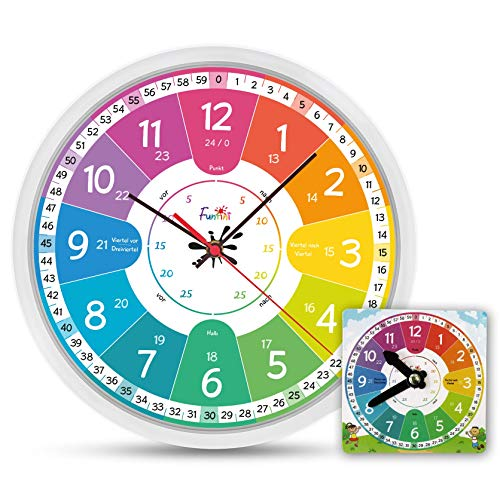 Funtini Kinderuhr-Set lautlos | Wanduhr Ø30cm mit Spielzeug-Lernuhr zum Uhr lesen lernen | Geschenk-Idee: Kinderwanduhr groß und bunt für Jungen & Mädchen | Kinderzimmer Uhren-Set ohne Ticken