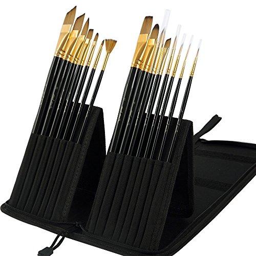Mont Marte Premium Künstlerpinsel Set in edler Pinseltasche - 15 Stück - Hochwertige Verarbeitung - Ideal für Wasserfarben, Acrylfarben, Ölfarben - Pinsel perfekt geeignet für Anfänger und Profis