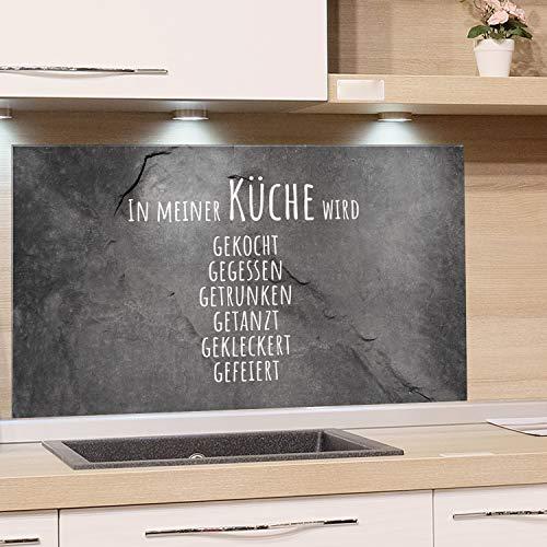 GRAZDesign Nischenrückwand Küche Steinoptik, Glasplatte Küche lustiger Spruch, Spritzschutz Küche Glas Granitoptik, Küchenrückwand Glas Familienspruch / 80x40cm