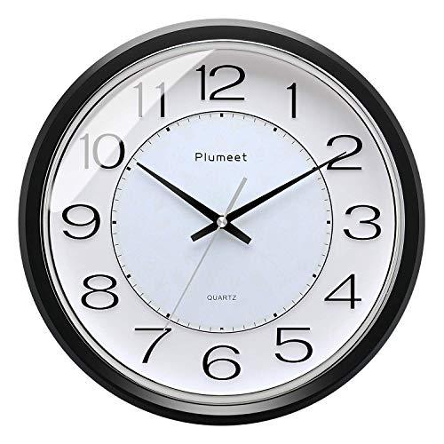 Plumeet 12.5-Zoll Anti-Ticken, Stille Wanduhr mit modernem und schönem Design für Wohnzimmer, große Küchen-Wanduhr, batteriebetrieben (schwarz)