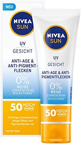 NIVEA SUN Sonnencreme fürs Gesicht, Anti-Age und Anti-Pigmentflecken, Lichtschutzfaktor 50, Tube, 50 ml