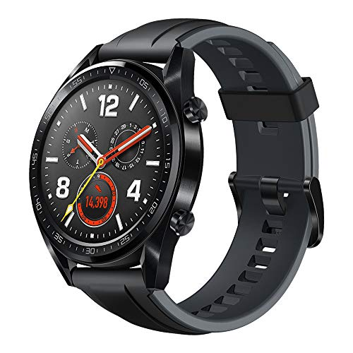 Huawei Herren GT Sport Smartwatch 3,53 cm (1,39 Zoll) Amoled Touchscreen, GPS, Fitness Tracker, Herzfrequenzmessung, 5 ATM wasserdicht, graphite