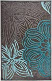 Carpetforyou Schöner moderner flachgewebter In- & Outdoor Teppich Sea Garden 3D Effekt Blumenmotiv grün grau in 3 Größen für Wohnzimmer oder Balkon (152 x 230 cm)