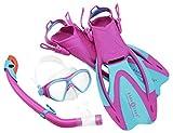Aqua Lung Sport La Costa Junior Pro Dive Kinder 3er Set (Tauchmaske, Schnorchel & Flossen) inkl. Beutel - 35-39 pink