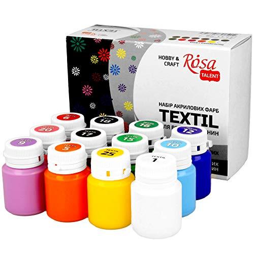 KrevoArt Stoffmalfarben Textilfarben WASCHFEST | Set aus 12 x 20ml Stofffarben in Tuben | Zum bemalen von verschiedenen Textilien
