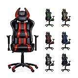 Diablo X-One Horn Gaming Stuhl Bürostuhl in Racing Optik, Kunstlederbezug, mit regulierbaren Armlehenen, Horn-Kissen, Farbwahl (rot/schwarz)